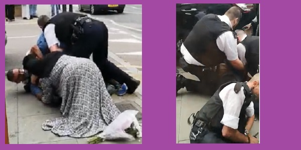 Left: police officers fall on top of the driver as his wife tries to protect his head. The flowers the driver dropped are in the foreground. RIght: police officers continue to restrain the driver although by this time he is no longer struggling to stand up but is having a fit.