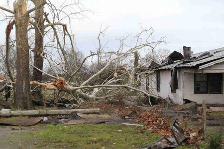 Damage caused by a tornado is seen in a neighborhood in Birmingham