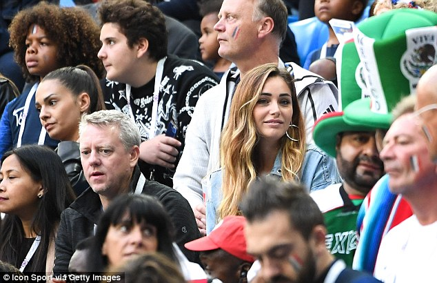 Charlotte Pirroni, girlfriend of Florian Thauvin, was also spotted among the crowds of supporters in Russia
