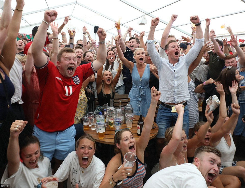 Now it's TWO! England fans scream with joy as Deli Alli heads home Three Lions' second goal against Sweden in World Cup