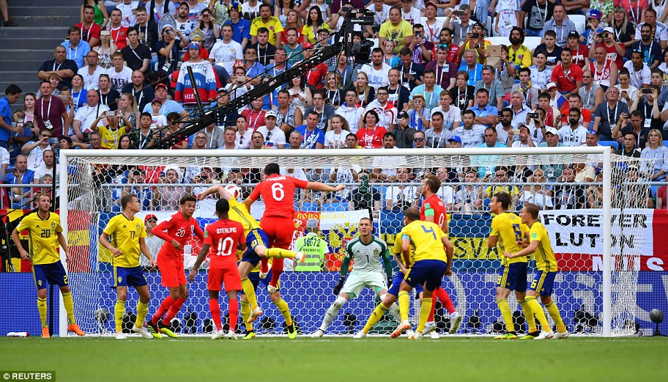 England's date with destiny got off to a dream start after centre back Harry Maguire scored a header to put England 1-0 up against Sweden