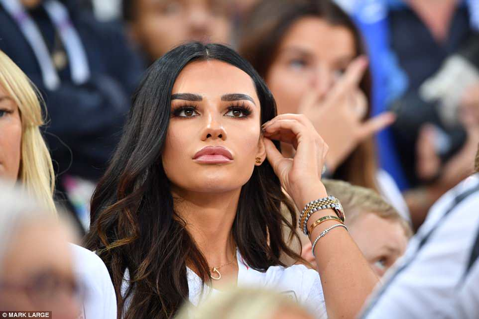 Dele Alli's girlfriend, Ruby Mae, watches from the stands as a tense second half turns into a lead for England thanks to Harry Kane's penalty