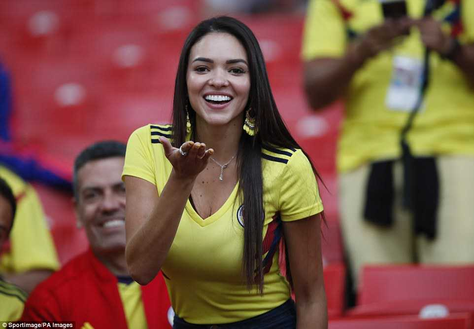 A Columbia fan blows a kiss before during the FIFA World Cup 2018 Round as her team faced defeat at the hands of England in Moscow