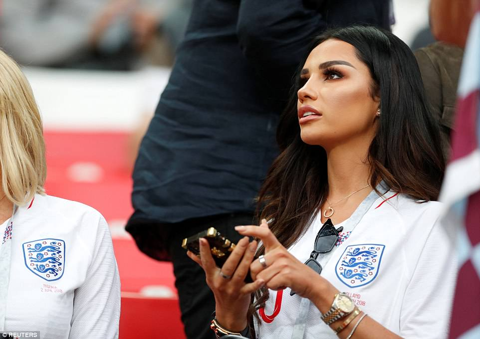 Ruby Mae, girlfriend of England's Dele Alli, is pictured inside the stadium as the WAGs of the national team prepared for the knock-out game