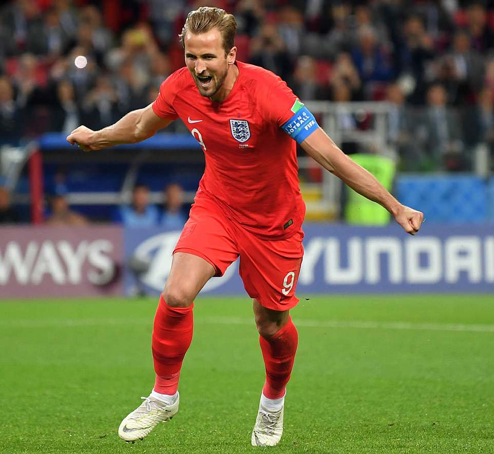 Harry Kane celebrates putting England in the lead following his penalty at the stadium in Moscow this evening where the Three Lions beat Colombia