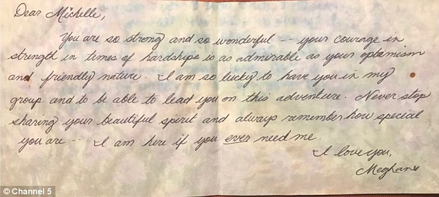In the handwritten note, Meghan says: 'You are so strong and so wonderful – your courage in strength in times of hardships is as admirable as your optimism and friendly nature'